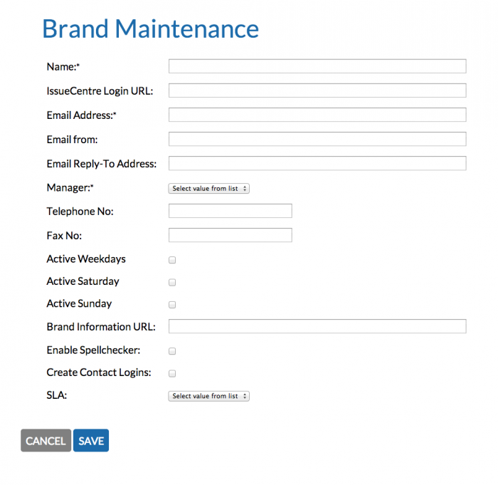 IssueCentre Multiple Brand Maintenance